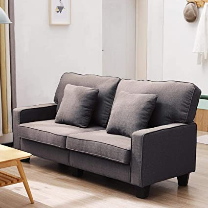 Surprising 2 Seat Sofa Bed Fabric Sofa Settee Couch Living Room Furniture Dark Brown Dark Brown Cjindustries Chair Design For Home Cjindustriesco