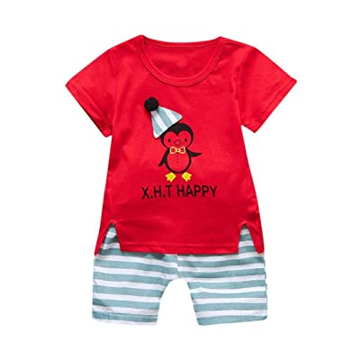 Winsummer Infant Baby Girl Boy 2pcs Outfits Cotton Summer Happy Short Sleeve T-Shirt Tops+Stripe Pants