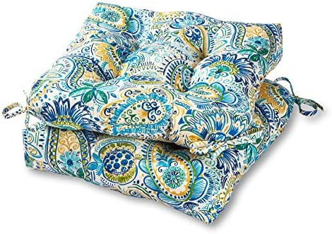 Greendale Home Fashions 20-inch Outdoor Chair Cushion in Painted Paisley set of 2 , Baltic
