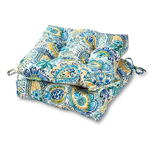 - Greendale Home Fashions 20-inch Outdoor Chair Cushion in Painted Paisley (set of 2), Baltic