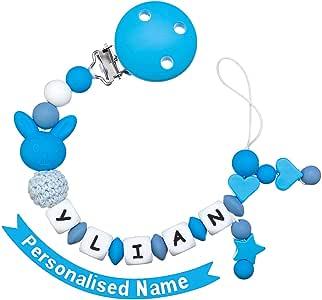 MCGMITT Chupeteros Personalizado Silicona Cadena Chupete Bebe Personalizada Nombre con Nombre Niño Sujeta Chupete(Azul): Amazon.es: Bebé