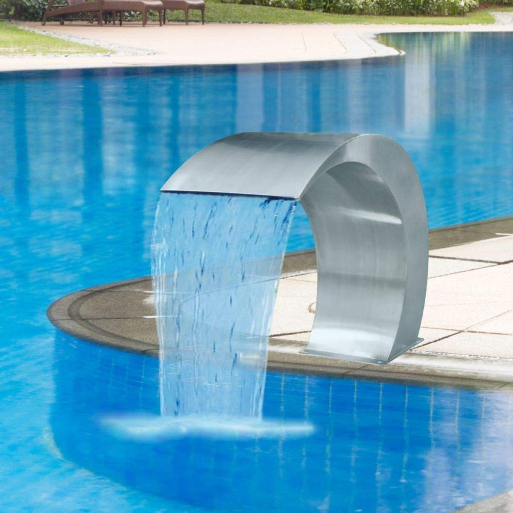 AYNEFY Pool Fountain,Stainless Steel Outdoor Garden Waterfalls Pool Fountain for Ground Pools Garden Waterfalls,Silver 17.7'' x 11.8'' x 23.6''