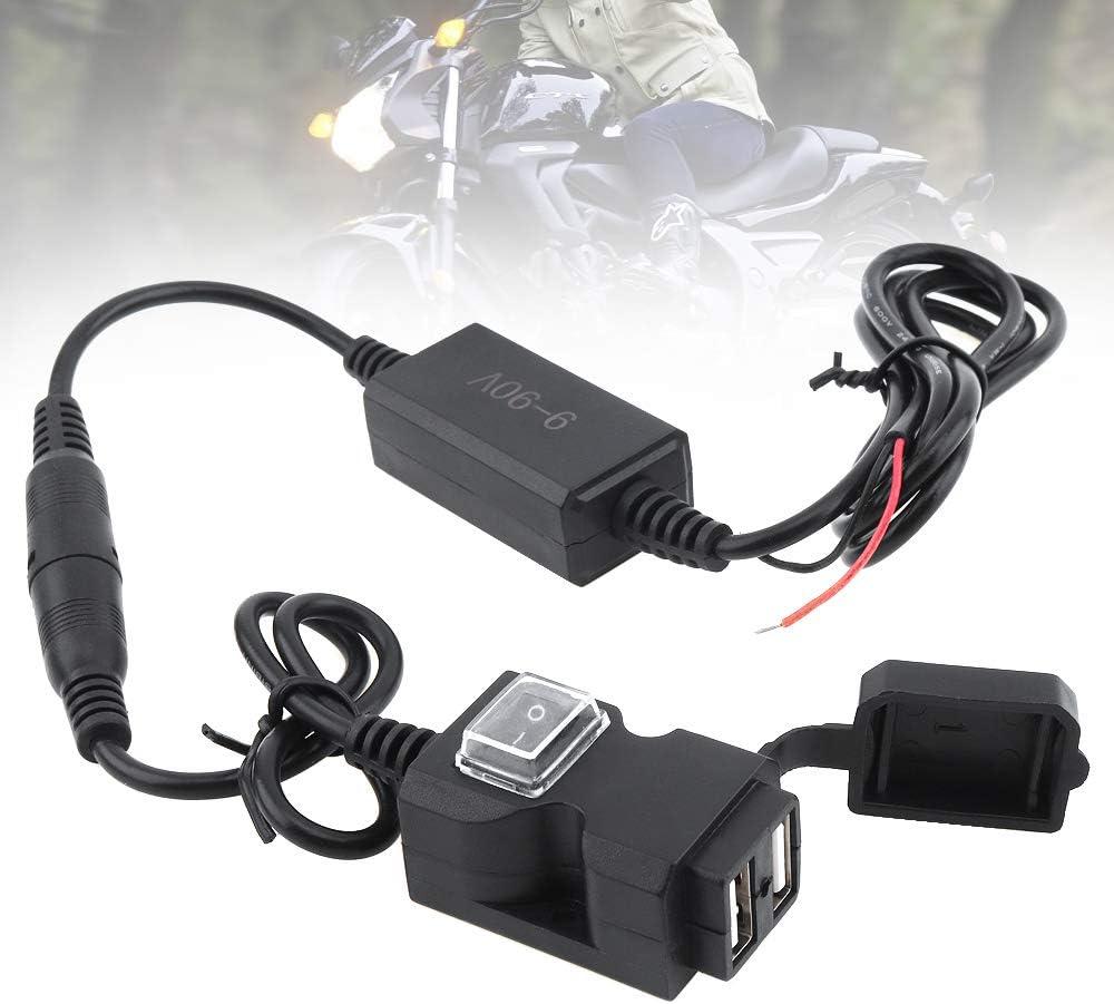 Adaptador de cargador USB doble para motocicleta con bot/ón de interruptor y soportes de base impermeables DC 5 V 2.1 A y 1 A