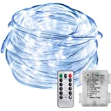 Bynhieo LED Rope Lights Outdoor String Lights Battery Powered Timer with Remote Control, 8 Modes Waterproof Fairy Lights for