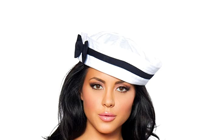 1930s Style Hats | Buy 30s Ladies Hats Roma Costume Sailor Hat with Blue Bow Costume $10.30 AT vintagedancer.com