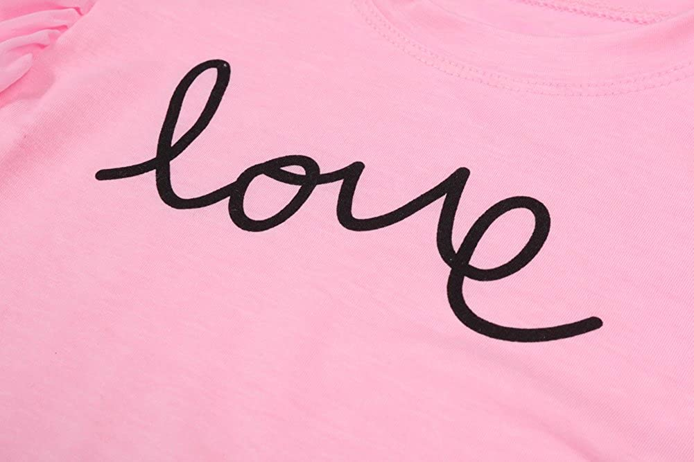 LZH 2Pcs//Set Fashion Toddler Kids Baby Girl Short Sleeve T-Shirt Top+Love Denim Shorts Outfits