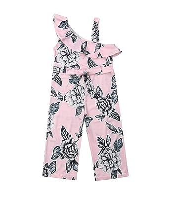 ea96e7026821 Amazon.com  Summer Kids Baby Girl Off Shoulder Floral Romper ...