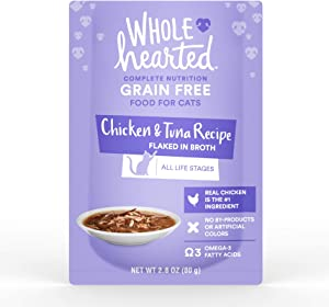 WholeHearted Grain Free Chicken & Tuna Recipe Flaked in Broth Wet Cat Food, 2.8 oz., Case of 12, 12 X 2.8 OZ