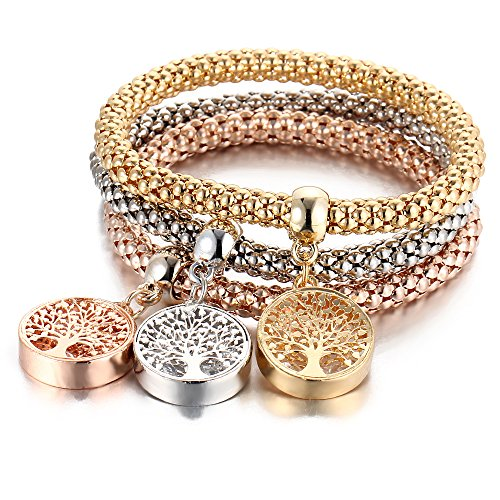 Stretch Bracelets I's 3PCS Gold/Silver/Rose Gold Corn Chain Crystal Charms Multilayer Bracelets for Women (Double Sided Tree of Life Charms)