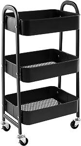 AGTEK Makeup Cart, Movable Rolling Organizer Cart, Black 3 Tier Metal Utility Cart
