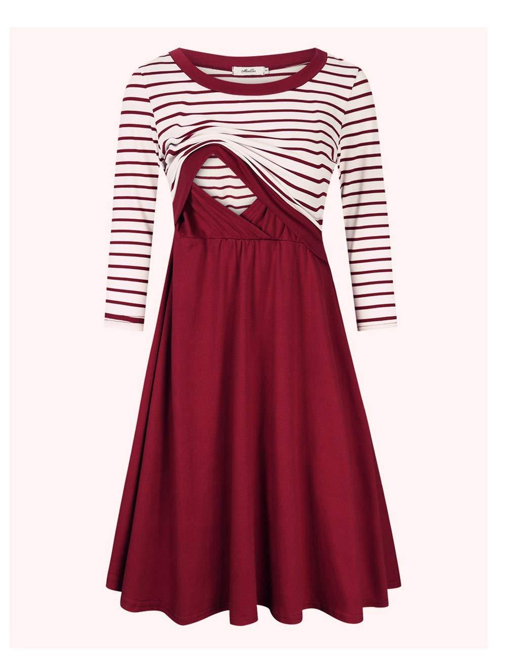MissQee Maternity Dress Women's Stripe 3/4 Sleeve Nursing Dress for Breastfeeding Burgundy L