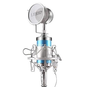 LESHP Juego profesional de Micrófono de Condensador (Filtro de viento y Tarjeta de sonido USB)