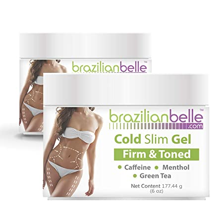 Cellulite Cold Slim Gel with Caffeine, L- Carnitine, and Green Tea Extract – Fights the Appearance of Cellulite and Stretch Marks – Quick Absorption- Cryo 6 oz 2 Jars