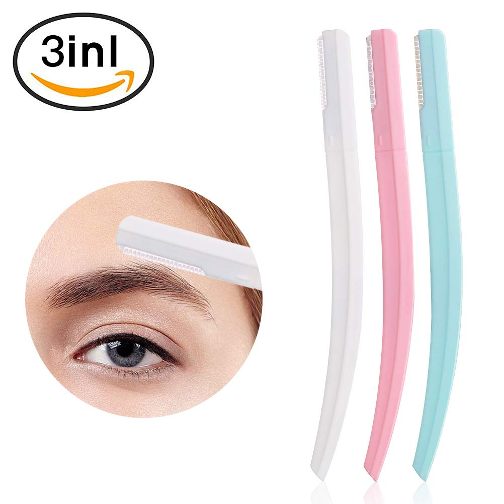 Eyebrow Razors - 3 Pcs Cheek Facial Razor Portable Peach Fuzz Shaver Eyebrow Shapers Safe Painless Eyebrow Trimmer Shaving Grooming Kit for Women Pink Blue White MeilameiEUR