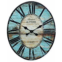 Creative Co-op Antiquite De Paris Wood Oval Wall Clock, 29.5 by 24-1/4-Inch