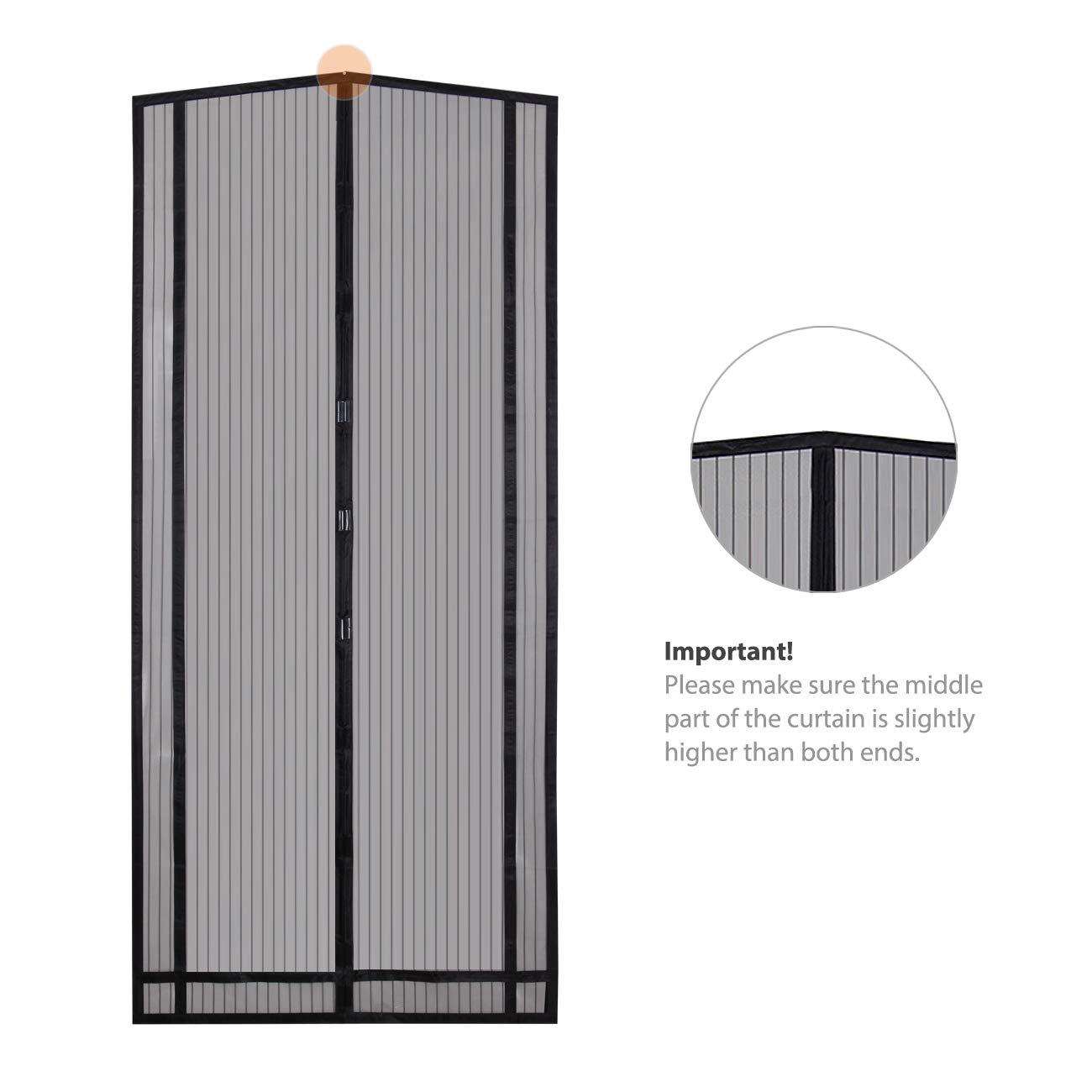 ideal para puerta de balc/ón negro puerta de s/ótano se puede cortar en altura y ancho Sekey 2pcs 220 * 100cm Cortina magn/ética para la protecci/ón contra insectos puerta de terraza
