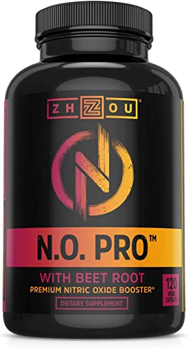 Zhou Nutrition Nitric Oxide Supplement with L Arginine, Citrulline Malate, AAKG and Beet Root – Powerful N.O. Booster and Muscle Builder for Strength, Blood Flow and Endurance – 120 Veggie Capsules.