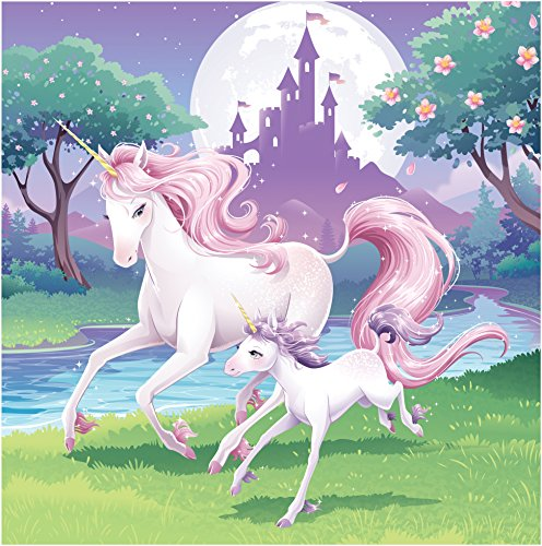 16-Count 3 Ply Paper Lunch Napkins, Unicorn
