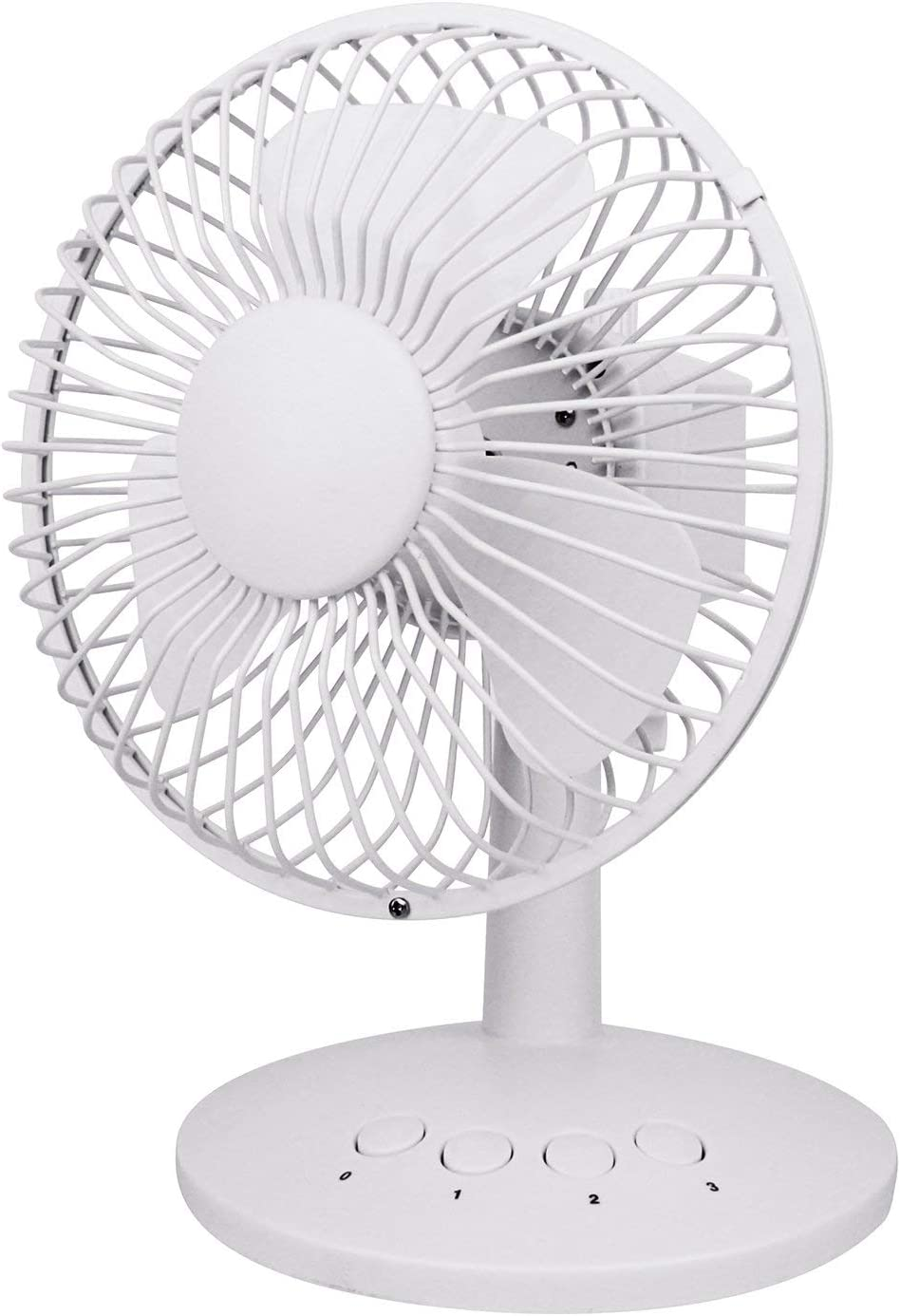 3 Speeds USB Oscillating Fan Portable Table Fan Mini USB Desktop Fan USB Battery Powered Personal Fan Quietness Baby Fan in Home Office Baby Boom Car Camping White