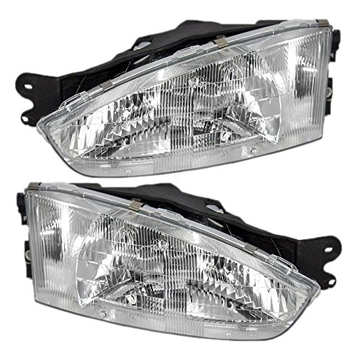 Driver and Passenger Headlights Headlamps Replacement for Mitsubishi MR296307 MR296308