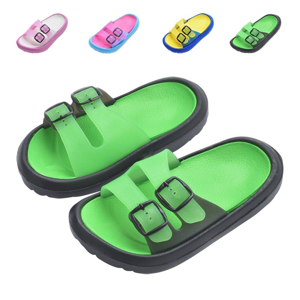 Toddler Little Kids Summer Sandals Non-Slip Boy Girl Slide Lightweight Beach Water Shoes Shower Pool Slippers (Little Kid 11-12M, Green)