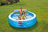"""Intex 57190ep Inflatable 88""""L x 85""""W x 30""""H Family Lounge Pool with Built-in Bench"""