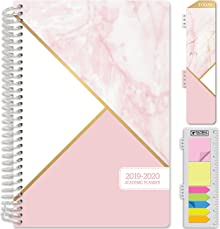 """HARDCOVER Academic Planner 2019-2020: (June 2019 Through July 2020) 5.5""""x8"""" Daily Weekly Monthly Planner Yearly Agenda. Bonus Bookmark, Pocket Folder and Sticky Note Set (Pink Marble Triangles)"""