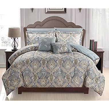 Luxurious Soft as Egyptian Cotton Reversible 7 Pcs Comforter Set, King Size, Russian Light Gray