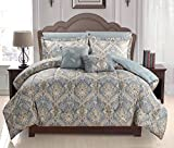 Homelux Luxurious Soft as Egyptian Cotton Reversible 7 Pcs Comforter Set, King Size, Russian Light Gray