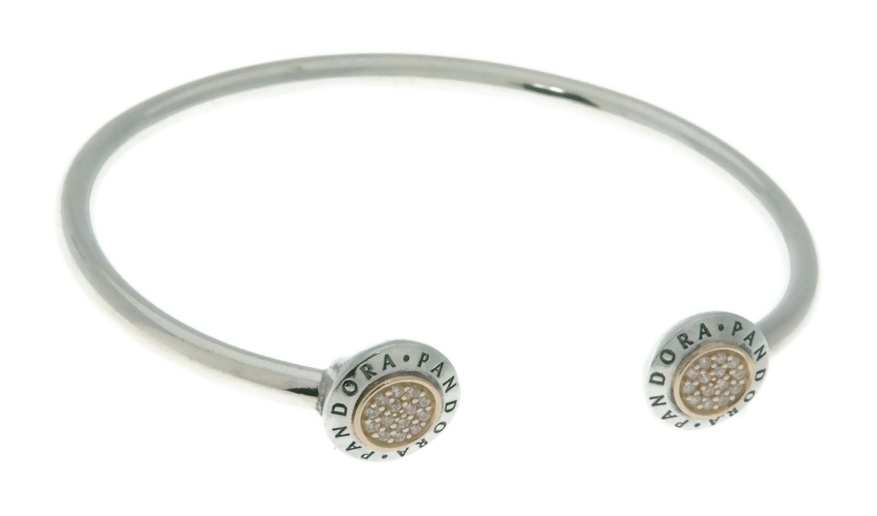 PANDORA Logo Open Bangle in Sterling Silver with 14k Gold and Clear Cubic Zirconia - Size: 16cm/6.3 Inches - 596274CZ