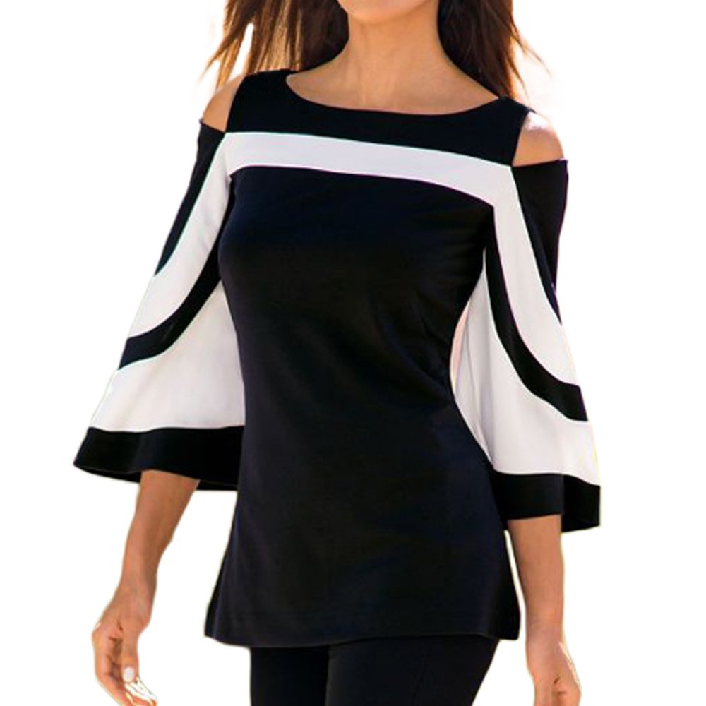 SUBWELL Women's Sexy Cut Out Cold Open Shoulder Bell Sleeve Blouses Tops T-Shirt (XX-Large, Black2)