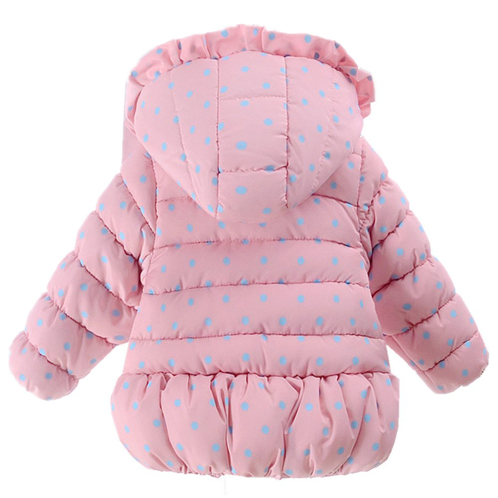 Ding Dong Baby Kid Girl Winter Hooded Bowknot Dot Coat