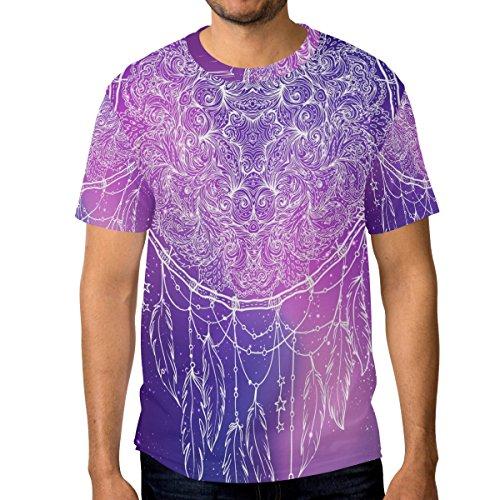 Homme Décontracté Alaza Ethnique Galaxy Cou Multicolore T Courtes shirt Ras Boho Du Dreamchatcher Manches Indian dwvwqFC