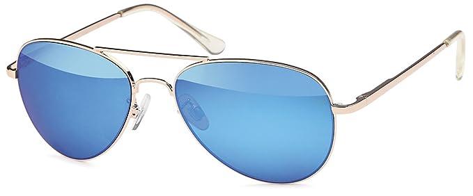 Unisex Edelstahl Pilotenbrille mit Polycarbonatgläser UV400 Filter- Im Set mit Brillenbeutel (Blau verspiegelt) XYyTNLh0HS