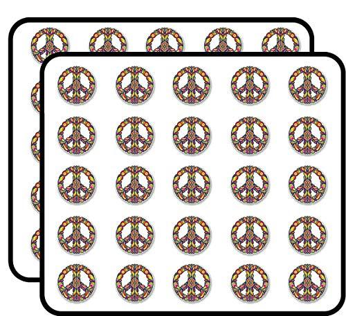 Colourful Peace Symbol Sticker for Scrapbooking, Calendars, Arts, Kids DIY Crafts, Album, Bullet Journals 50 - Round Symbol Stickers Peace