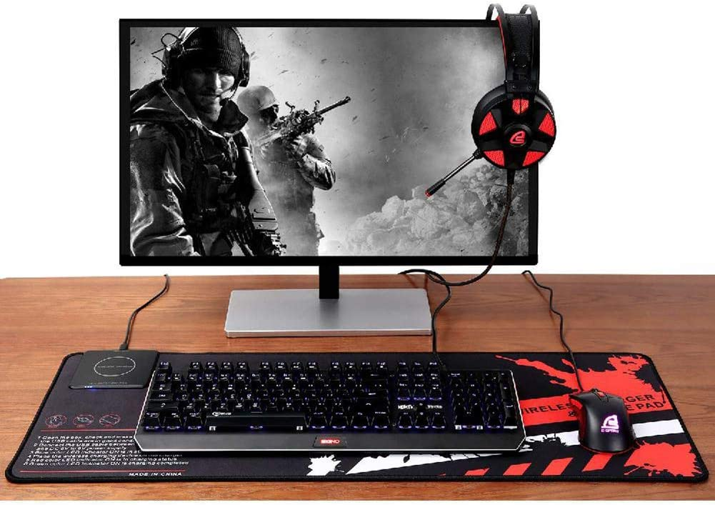 Wireless Charger Extended Mouse Pad//Large RGB Gamer Mouse Mat//Mouse Pad Keyboard Mat with Wireless Charging//Extended Large Mousepad with Non Slip Rubber Base 4.5MM Ultra-Thick