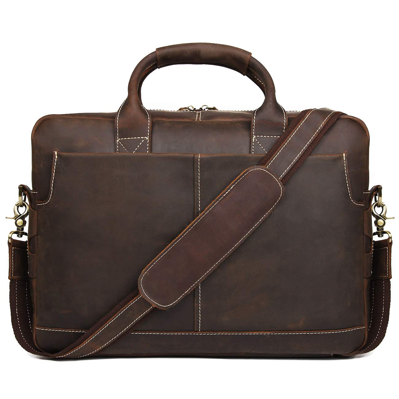 Augus Leather Laptop Briefcase for Men,Waterproof Travel Messenger Duffle Bags 15.6 Inch Laptop Bag,Brown