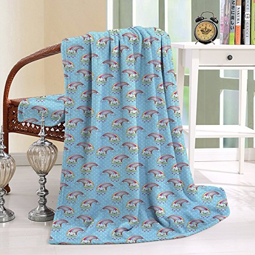 HAIXIA Blanket Kawaii Clouds with Rainbow Arches on Pale Hearts Backdrop Love Happiness Pale Blue Multicolor (Joseph Wool Flannel)