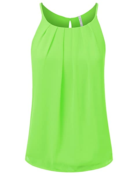 be04dc041f5 Fifth Parallel Threads Women's Double Layered Pleated Spaghetti Blouse Tank  Top NEONLIME Small