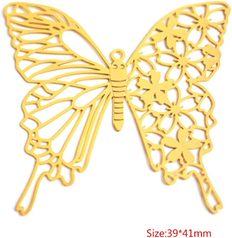 RT-HUI DIY Filler Epoxy Resin Mold Decoration Butterfly Golden Copper Hollow Crafts Ornaments Filling Jewelry Necklace Making Tools