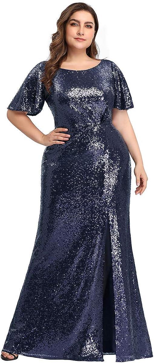 Women/'s V-Neck Short Sleeve Floral Sequined Evening Party Mesh Dresses Plus Size