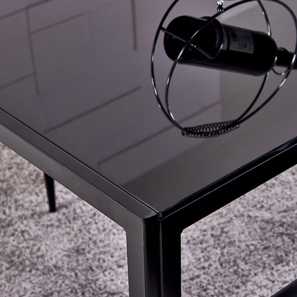 OSPI 4 x Noir Dossier Haut Simili Cuir Chaises de Salle à Manger avec  rectangulaire en Verre trempé Noir Table de Salle à Manger Pieds en métal  Ensemble de ... 1bdbec828893