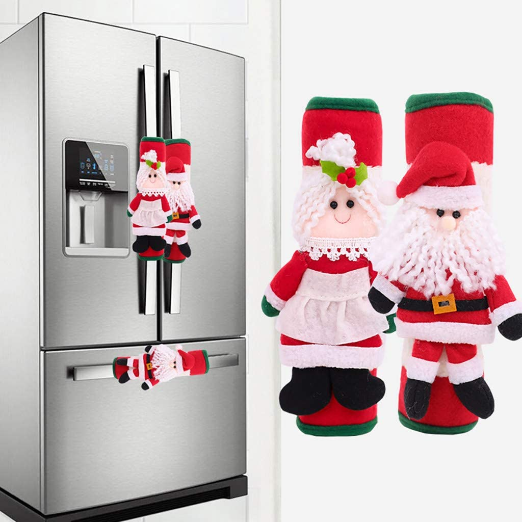 Christmas Refrigerator Door Handle Cover Kitchen Microwave Oven Handle Cover Q