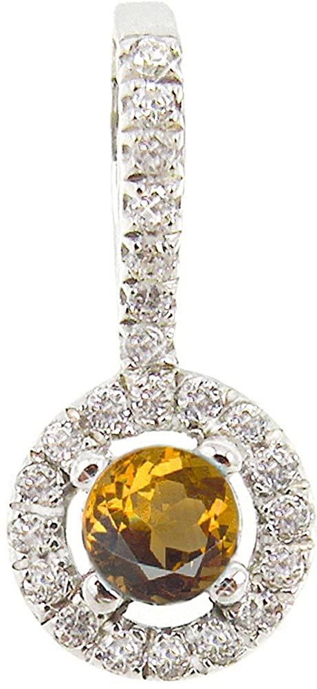 BTS-NP9651//CIT//WTP//R Sterling Silver Pendant with Round Citrine and Round White Synthetic Topaz