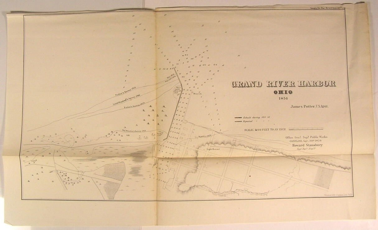 Amazon Com Grand River Harbor Ohio Survey Lines Lighthouse 1854