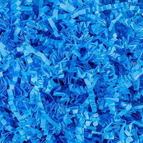 Crinkle Cut Paper Shred Filler (1/2 LB) for Gift Wrapping & Basket Filling - Light Blue | MagicWater Supply -