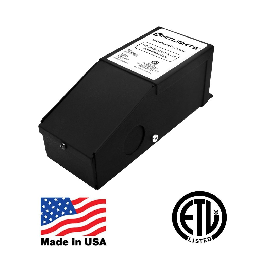 HitLights 40 Watt Dimmable LED Driver, 12V Magnetic Power Supply - 110V AC  - 12V DC LED Transformer. Compatible with Lutron and Leviton for LED Strip  Lights ...
