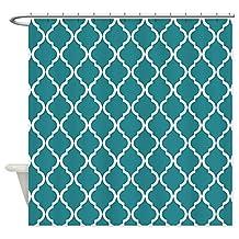 CafePress - Teal Moroccan Lattice - Decorative Fabric Shower Curtain