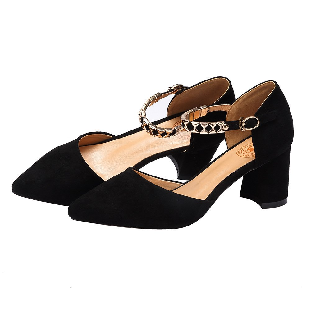 CAMEL CROWN Women\'s Elegant Pointy Toe Chunky Heel Dorsay Pumps with Ankle Straps Color 600 Black Size 8