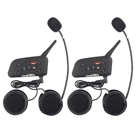 Fodsports Moto Motocicleta Casco Bluetooth BT V6 Intercom Interfono Headset Intercomunicador Auriculares Walkie-Talkie Equitación Esquí (Manos ...
